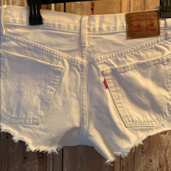 Perfectly Distressed White Levi's Jean Shorts